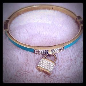 Michael Kors Turquoise Padlock Gold tone womens br